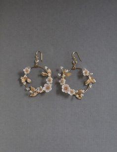 Bridal Statement Earrings Floral Bridal Earrings Statement Hoop Earrings h Ear Jewelry, Cute Jewelry, Boho Jewelry, Wedding Jewelry, Fashion Jewelry, Jewelry Ideas, Jewlery, Fashion Earrings, Dainty Jewelry