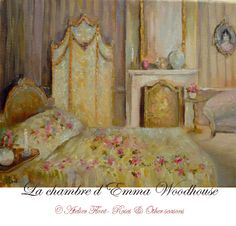 Love me some Helene Flont! Emma Woodhouse, Beautiful Bedrooms, Beautiful Interiors, Romantic Bedrooms, Jane Austen, Shabby Chic Art, Rose Cottage, Yellow Cottage, Pretty Bedroom