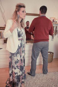Her: BR Monogram Print Maxi Dress Him: BR V Neck Sweater, Soft Wash Shirt, Skier Skinny Tie, and Vintage Straight Cords