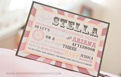 Vintage Circus Inspired Baby Shower Invitations