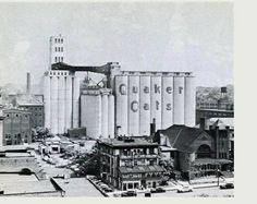 Old Quaker Oats facory - High Street Christian Church is in the lower right corner. The picture is pre 1958. The building next to the church building is the old hotel that was torn down around 1958 to build the educational building for the church - Akron, OH.