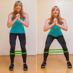 Lateral Band Walks..and turning your toes in while doing these works your saddle bags