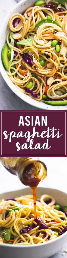 (6) Asian Spaghetti Salad with Sesame Ginger Dressing | Recipe