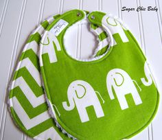 Gender Neutral Baby Bibs - Set of 2 Triple Layer  - Green Elephants and Chevron Chenille.