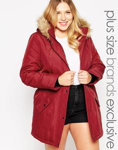 """Plus-size coat by Junarose Padded design Hooded neckline Faux fur trim Zip and press stud front Stretch side waist detail Side pockets Regular fit - true to size Machine wash 100% Polyester Our model wears a UK 18/EU 46/US 14 and is 174cm/5'8.5"""" tall"""
