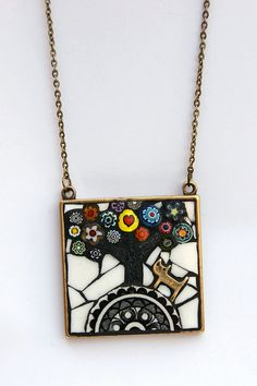Love it! Cat on Hill Mosaic Necklace by Angela Ibbs Mosaics