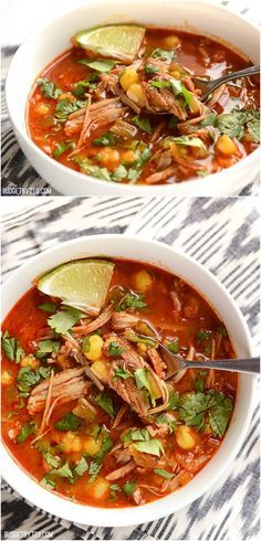 This quick 30 Minute Posole has intense slow cooked flavor thanks to an enchilada sauce base and leftover pulled pork. Step by step photos. 30 minute Posole by Mexican Dishes, Mexican Food Recipes, Dinner Recipes, Ethnic Recipes, Mexican Desserts, Good Mexican Food, Green Chili Recipes, Mexican Cooking, Italian Cooking