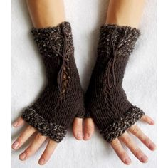 Knit Wrist Warmers Corset Fingerless Glove in Dark Brown with Suede... ($33) ❤ liked on Polyvore featuring accessories, gloves, knit fingerless gloves, victorian gloves, suede leather gloves, knit gloves and fingerless gloves