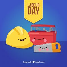 Labour day background with toolbox in flat style , Labour Day, Happy Labor Day, Flat Style, Concrete Wall, Yellow Background, Art Deco Design, Happy People, Toolbox, Fashion Flats