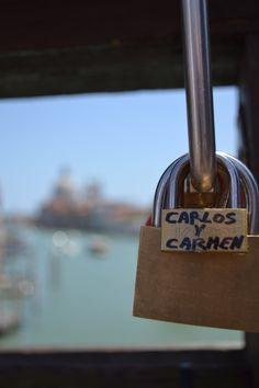 """Lover's Lock"" on a bridge in Venice"