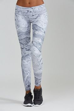 Marble Print leggings are white hot. Sophisticated, stylish and sexy this print will turn heads. A wide flattering waistband will slim and tuck. Each piece is