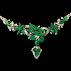 #JADE, DIAMOND, 18K WHITE GOLD NECKLACE, Estimate: $5,000/7,000 #michaans #jewelry http://www.michaans.com/highlights/2013/highlights_12062013.php