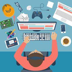 55812259-programmer-at-desk-workplace-programmer-player-programmer-geek-gamer-flat-design-vector-illustration.jpg (450×450)