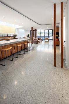 terrazzo flooring Photo Gallery - Site - Tuggerah, New South Wales - The Concrete Network Polished Concrete Kitchen, Concrete Kitchen Floor, Polished Concrete Flooring, Smooth Concrete, Basement Flooring, Living Room Flooring, Kitchen Flooring, Terrazo Flooring, Concrete Interiors