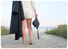 Senior Photography at the beach. Senior with cap and gown at the beach. My 2 loves, child & beach ❤️ Graduation Picture Poses, College Graduation Pictures, Graduation Portraits, Graduation Photoshoot, Grad Pics, Senior Picture Outfits, Cap And Gown Pictures, Gown Photos, Bff
