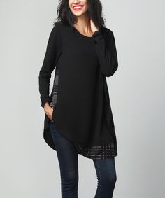 This Black & Charcoal Plaid Layered Tunic is perfect! #zulilyfinds