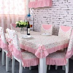 2014 Seconds Kill Time-limited Home Desktop Decoration Graduated Fabric Table Cloth Flower Universal Towel Table Cloth Chair Sets (China (Mainland)) Shabby Chic Pink, Shabby Chic Decor, Chair Covers, Table Covers, Floral Chair, Linens And Lace, Deco Table, Home And Deco, Table Linens