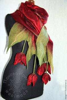 "hand-made tulip dripping scarf (Ярмарка Мастеров - ""Марта"" -livemaster) Nuno Felting, Needle Felting, Nuno Felt Scarf, Felted Scarf, Textiles, Creation Couture, Fabric Manipulation, Felt Art, Felt Flowers"