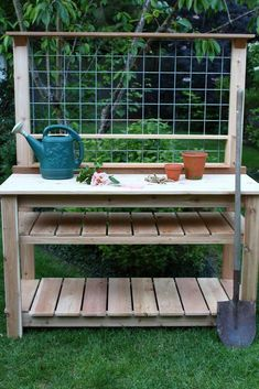 Potting Bench Ideas - Want to know how to build a potting bench? Our potting bench plan will give you a functional, beautiful garden potting bench in no time! table 50 Best Potting Bench Ideas To Beautify Your Garden Outdoor Potting Bench, Potting Bench Plans, Potting Tables, Potting Bench With Sink, Garden Bench Plans, Potting Sheds, Garden Sink, Garden Table, Garden Work Benches