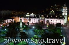 Night view of the Plaza de la Independencia in Quito taken from the Plaza Grande Hotel Rooftop Terrace.