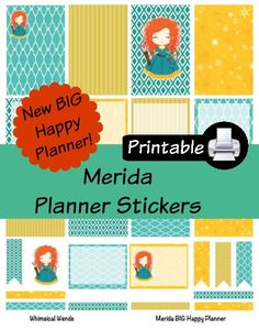 New BIG Happy Planner MeridaPDF PRINTABLE Planner Stickers Erin Condren Planner Filofax Plum Paper Decorating Kit Disney by WhimsicalWende on Etsy