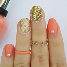 gold, peach, and white nails