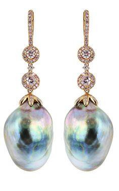 South Sea Pearl with 4 round brilliant cut pink diamonds and pink pave diamond accents in rose gold.