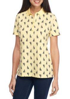 Kim Rogers Women's Short Sleeve Lil Boat Polo Shirt - Yellow - Xl