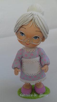 W Fine Porcelain China Diane Japan Info: 3597678998 Polymer Clay Figures, Polymer Clay Dolls, Polymer Clay Projects, Diy Clay, Fondant Figures Tutorial, Cake Topper Tutorial, Grandma Cake, Clay Ornaments, Foam Crafts