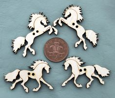 Four Wooden Decorative Horse Buttons by LauraMathewsArtist on Etsy