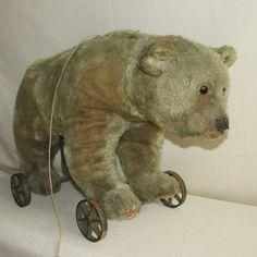 "AL-antique STEIFF pull toy German Teddy bear growler-cast iron wheel+button-18""L #Steiff"