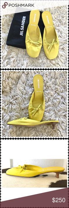 Jil Sander yellow leather slide Jil Sander yellow leather slide with self bow. Size 38. In kitten heel. Worn a couple times. With a dust bag. Jil Sander Shoes Heels
