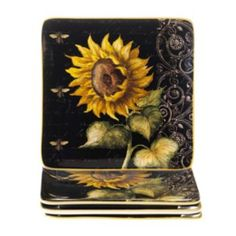 Certified+International+French+Sunflowers+4-pc.+Square+Salad+Plate+Set
