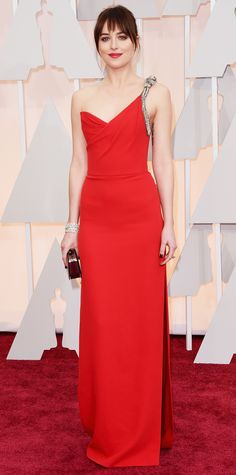 The Stars Who Slayed the Red Carpet in Saint Laurent by Hedi Slimane - Dakota Johnson, 2015  - from InStyle.com