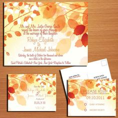 DIY Fall Wedding Invite inserts with website info and rsvp instructions