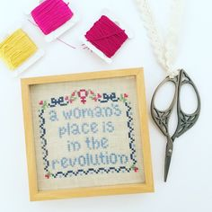 Free cross stitch pattern: A Woman's Place – Essie Ruth  feminism craft embroidery sewing