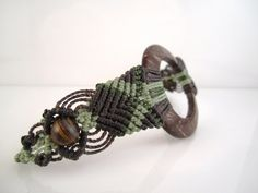 Handmade Micro Macrame Bracelet with Coconut Ring by MinguiKelly
