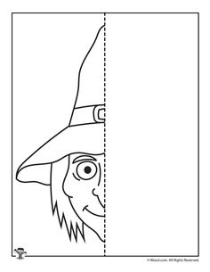 Smiling Witch Finish the Picture Symmetry Activities, Activities For Kids, Symmetry Art, Witch Pictures, October Art, Crafty Kids, Drawing For Kids, Sd, It Is Finished