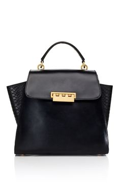 Our bag of the day! Zac Posen Black Python Panel Eartha Top Handle  495 Zac 09527a57f9de4