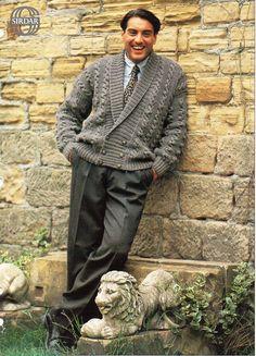 mens aran jacket knitting pattern PDF mens aran cardigan shawl collar double…