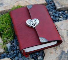 Red Leather Journal - Heart Clasp - Notebook / Diary / Sketchbook. $50.00, via Etsy.