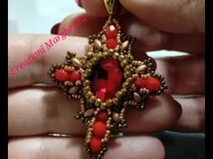 Tutorial CROCE BAROCCA con Cabochon 13x18 - YouTube Beadwork, Beading, Cross Necklaces, Beaded Cross, Tutorial, Crosses, Earrings, Youtube, Crafts