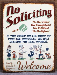 New No Soliciting Sign - HELL HOUNDS Series III. $27.95, via Etsy.