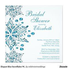 Elegantes blaues Schneeflocke-Winter-Brautparty Quadratische 13,3 Cm Einladungskarte