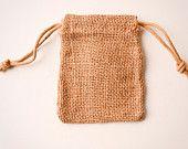 Burlap Bags 3x5, Jute, 100 Natural Drawstring Sack, Rustic Gift Bag Wedding Favor. $65.00, via Etsy.