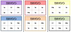 Bingo - 8 boards for british coin values - Free printable