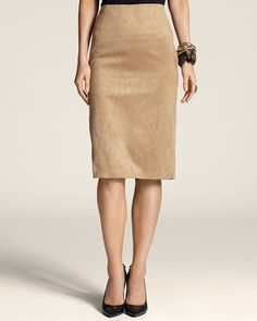 clingy suede skirt