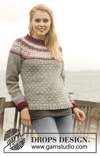 "Knitted DROPS jumper with round yoke and Nordic pattern in ""Lima"". Size: S - XXXL. ~ DROPS Design"