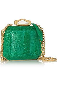 Alexander McQueen|Diamond Bridge ostrich box clutch