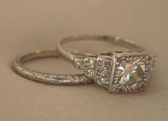 Vintage Wedding Rings 1920 | Art Deco 1920s Engagement Ring Old Euro  Diamond In Platinum Antique ... | VINTAGE ENGAGEMENT U0026 WEDDING RINGS |  Pinterest